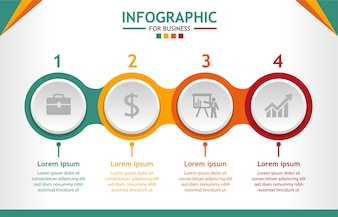Business infographic template with 4 steps, Data presentation