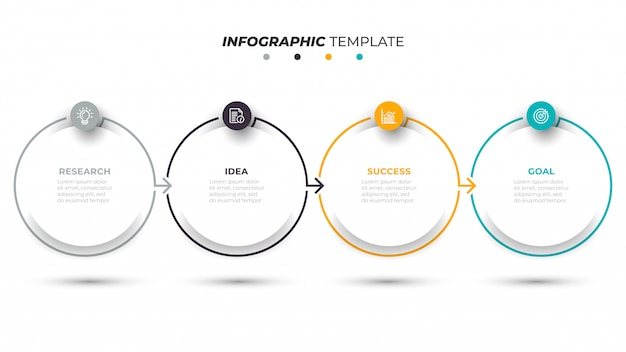 Business infographic template with 4 steps