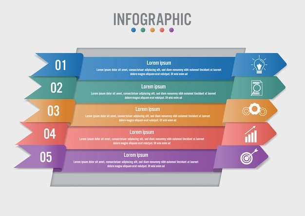 Business infographic template with 5 arrows shape