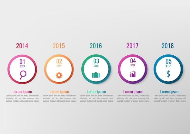 Бизнес-инфографический шаблон с 5 вариантами круглой формы