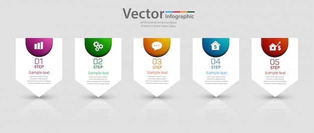 5 가지 옵션 또는 단계가있는 비즈니스 인포 그래픽 템플릿