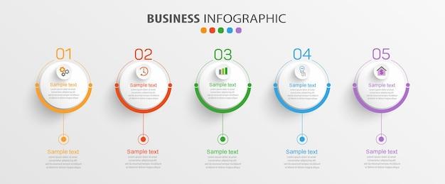 5つのオプションまたはステップを備えたビジネスインフォグラフィックテンプレート