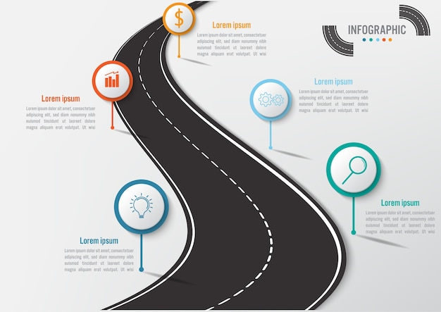 Business infographic template with 5 options road shape
