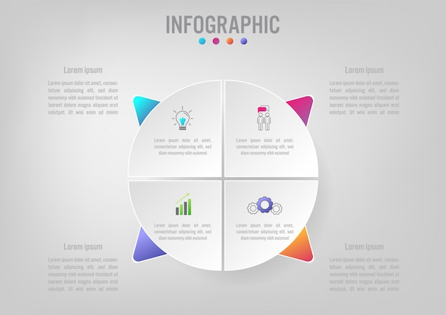 Business infographic template with 5 options