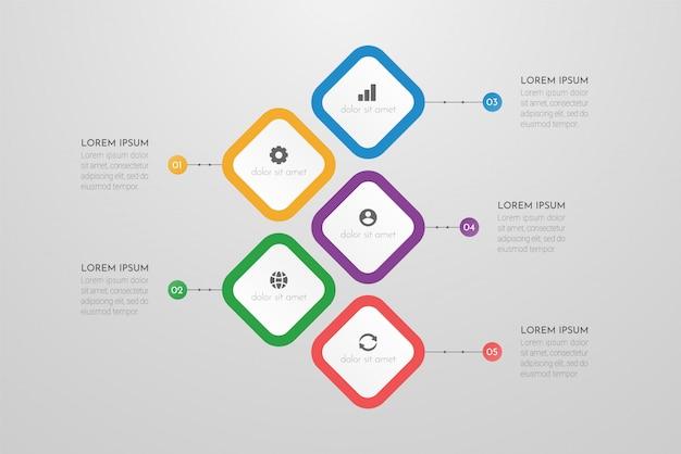5つのステップまたはプロセスの要素を持つビジネスインフォグラフィックテンプレート。
