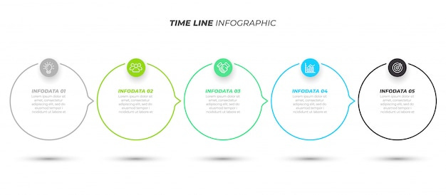 Business infographic template with 5 steps
