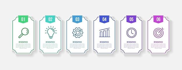 Шаблон бизнес-инфографики с 6 вариантами, концепция визуализации данных в минималистском стиле