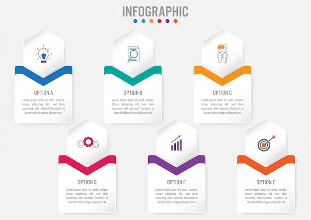 Business infographic template with 6 options