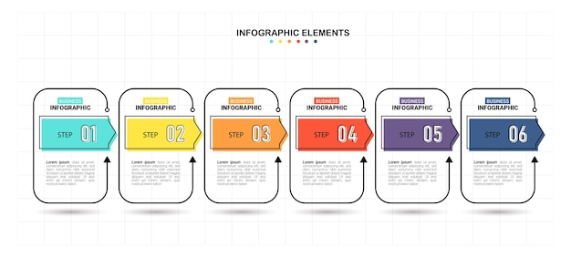 Business infographic template with 6 steps