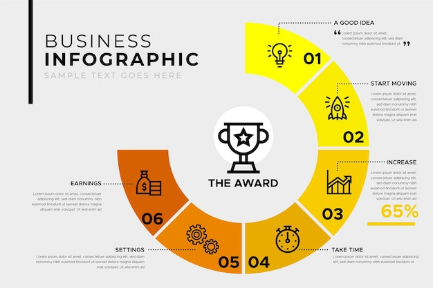 Business infographic template with award