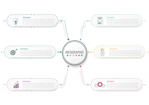 Business infographic template with circle label
