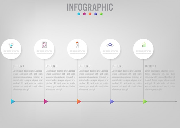 Business infographic template with circular