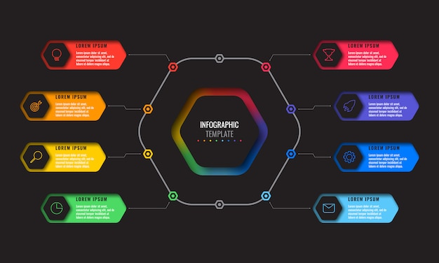 Business infographic template with eight realistic hexagonal elements with thin line icons on black background.