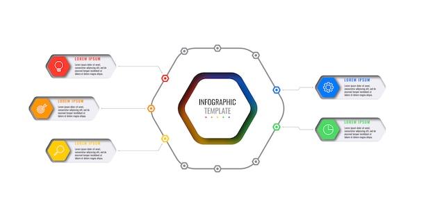 Бизнес инфографики шаблон с пятью гексагональной элементами с тонкой линии иконы на белом фоне.
