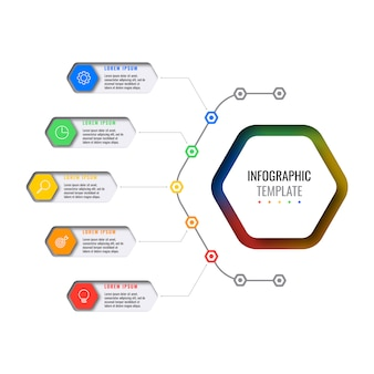 Business infographic template with five hexagonal elements with thin line icons on white background.