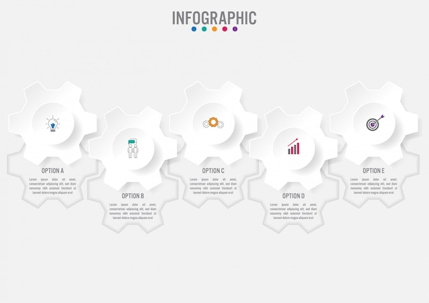Business infographic template with five options