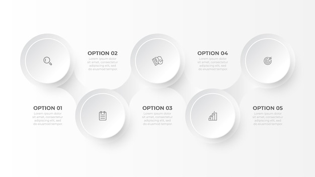 Business infographic template with five steps or options creative design with circles   illustration
