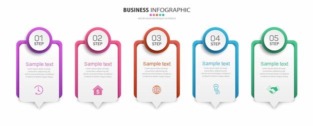 Шаблон бизнес-инфографики с пятью шагами