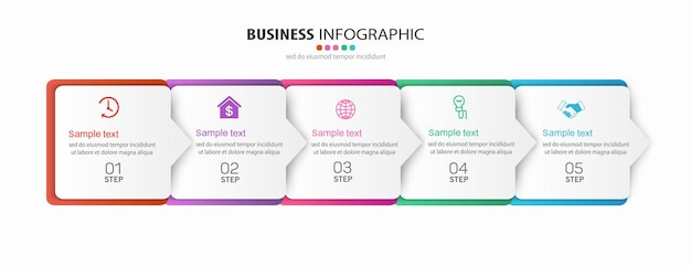 Business  infographic template  with  five  steps