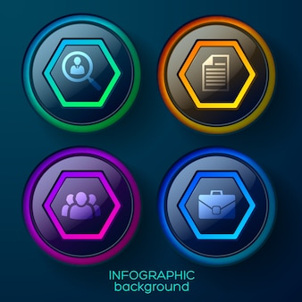 Business infographic template with four colorful glossy web elements and icons