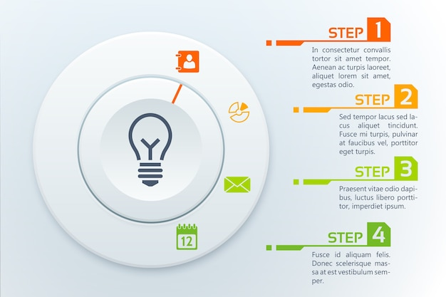 Business infographic template with four steps