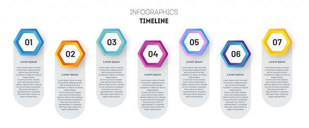 Business infographic template with hexagons.
