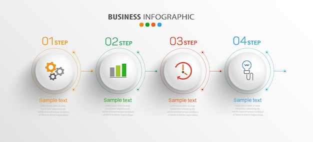 Business  infographic template with icons and 4 options or steps