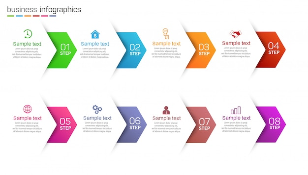 Business infographic template with icons and 8 options or steps