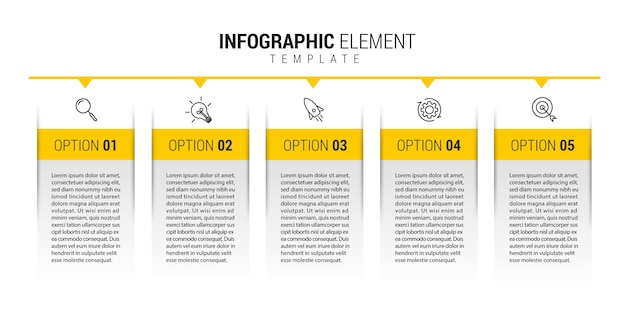 Business infographic template with icons and numbers 5 options or steps