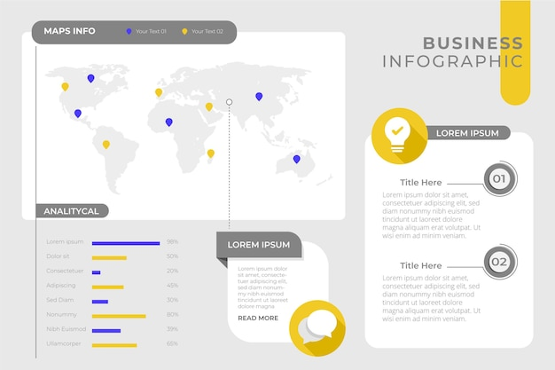 Business infographic template with map