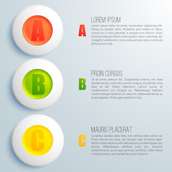 Business infographic template with ordered circles and text field flat