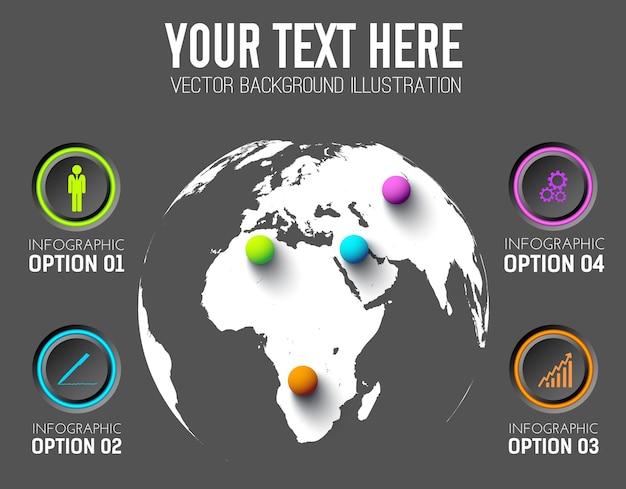 Modello di business infografica con icone pulsanti rotondi e palline colorate sulla mappa del mondo