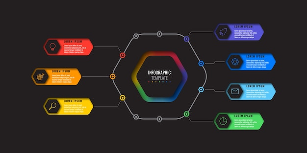 黒の背景に細い線のアイコンで7つの現実的な六角形の要素を持つビジネスインフォグラフィックテンプレート。紙に幾何学的な穴を持つ近代的な図。プレゼンテーションの視覚化