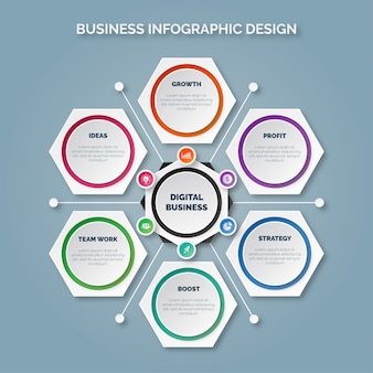 Business infographic template with six options