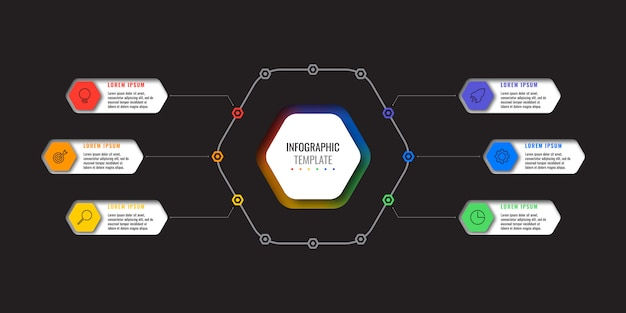 Business infographic template with six realistic hexagonal elements with thin line icons on black background.