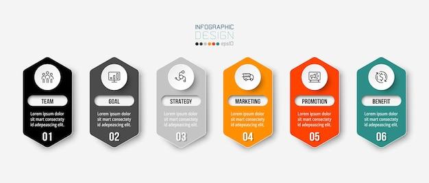 Business infographic  template with step or options design