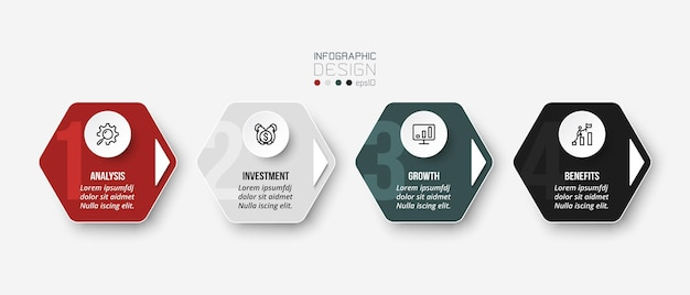 Business infographic  template with step or options