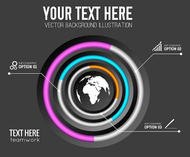 Шаблон бизнес-инфографики с тремя шагами