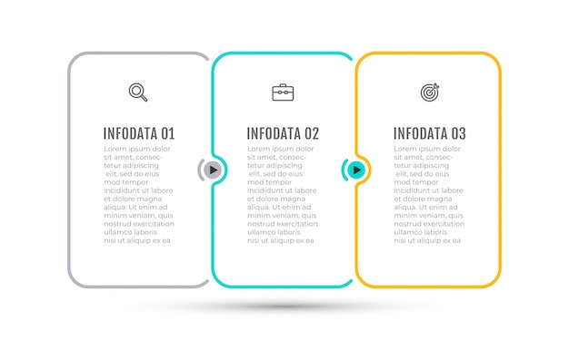 マーケティングのアイコンと3つのオプション、手順、ラベルビジネスインフォグラフィック細い線デザイン。