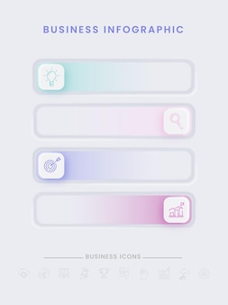 Business infographic timeline elements on gray