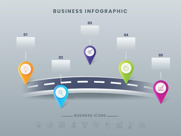 Business infographic timeline template with five location pins on gray