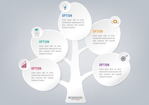 Business infographic trees shape