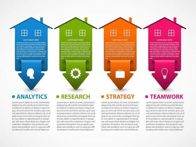プレゼンテーションや情報バナーのビジネスインフォグラフィックの視覚化。デザイン要素。