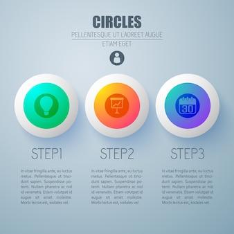 Concetto di web infografica aziendale con tre opzioni pulsanti rotondi colorati e icone