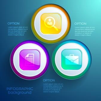 分離された3つのオプションのカラフルな光沢のあるボタンとアイコンとビジネスインフォグラフィックwebデザインコンセプト