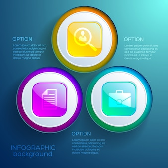 Business infographic web design concept with three options colorful glossy buttons and icons isolated