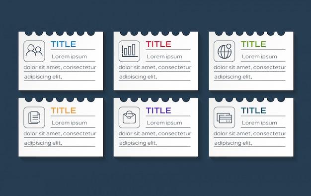 Бизнес инфографики с 6 вариантами данных на бумаге