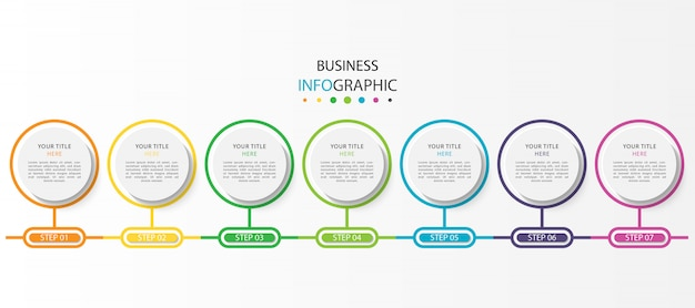 Business infographic with 7 steps or options