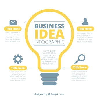 Business infographic with a lightbulb