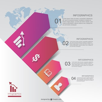 Business infographic with background world map
